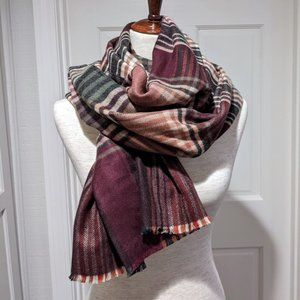 Chelsey II Oversized Plaid Woven Scarf/Wrap